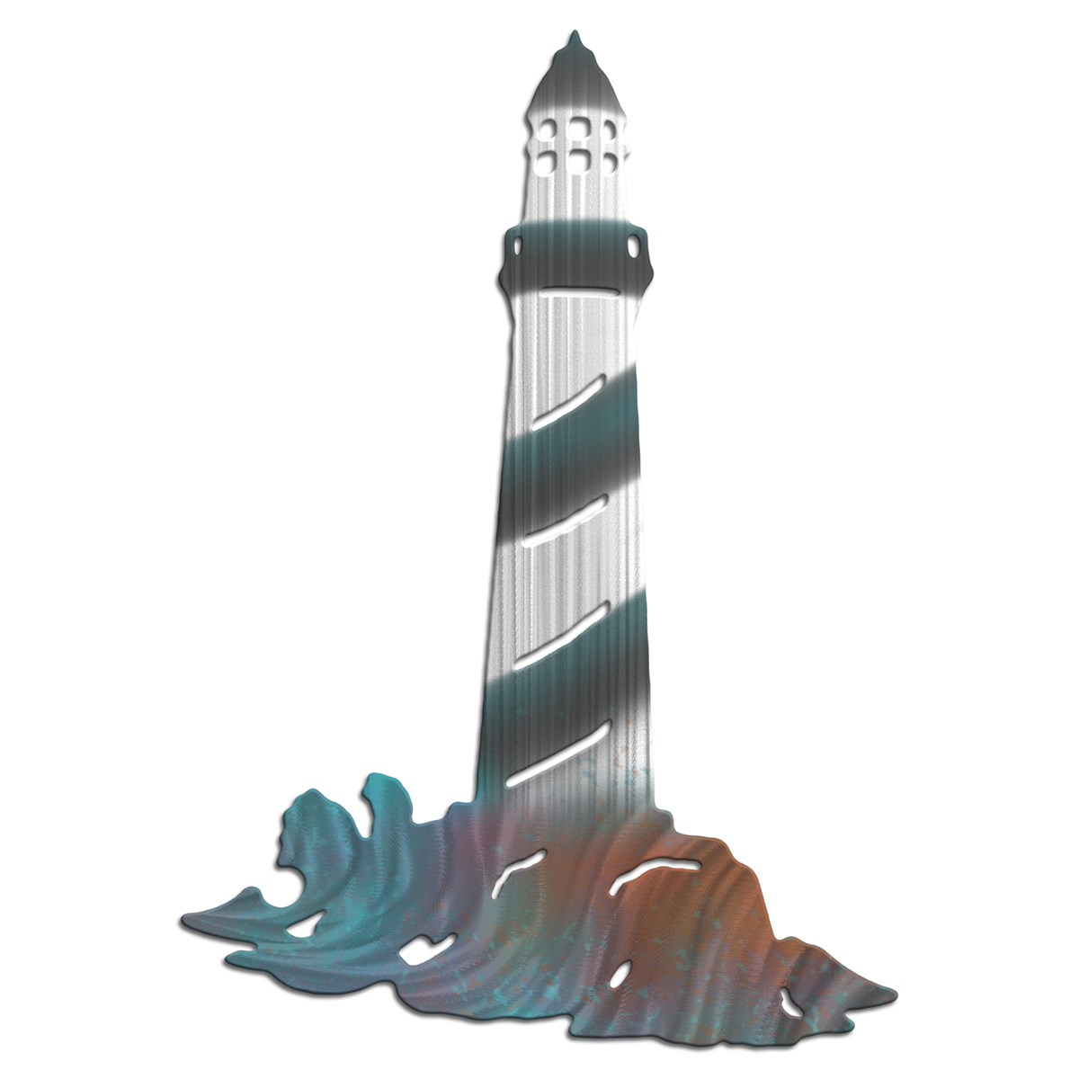 Rainbow Lighthouse Metal Wall Art