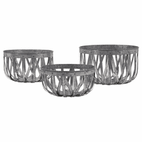 Rana Galvanized Metal Baskets - Set of 3