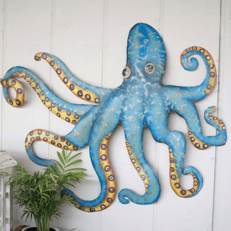 Recycled Metal Octopus Wall Hanging