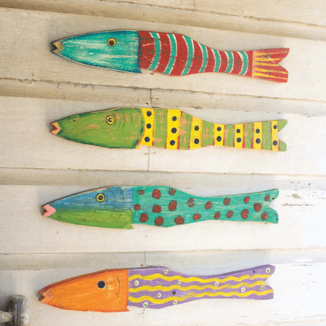 Recycled Wood Fish Wall Art - Set of 4
