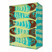 Red and Aqua Fish Aluminum Wall Art