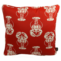 Red and White Lobsters Indoor/Outdoor Pillow - 17 x 17