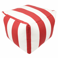 Red and White Stripes Indoor/Outdoor Square Pouf