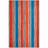 Red & Blue Beach Stripes Rug Collection