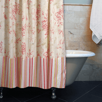 Red Coral & Seashells Shower Curtain