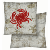 Red Crab Vinyl Pillow - 18 x 18