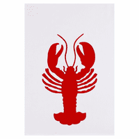 Red Lobster Applique Kitchen Towels - Set of 6