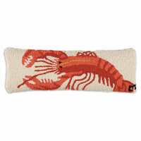 Red Lobster Hooked Wool Pillow