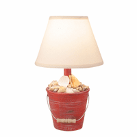Red Mini Bucket of Shells Table Lamp