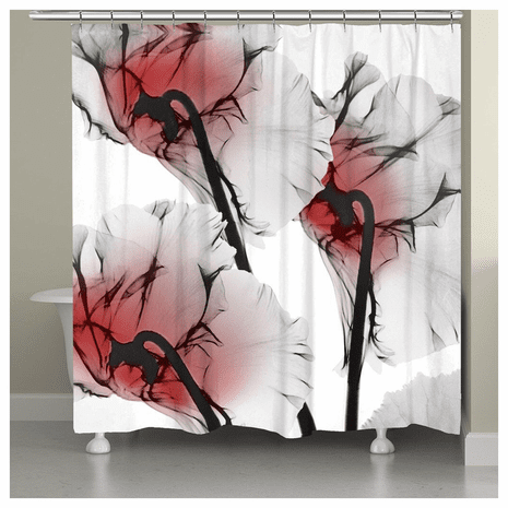 Red Oceanic Orchid Shower Curtain