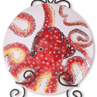 Red Octopus Dinner Plates - Set of 4