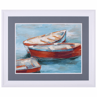 Red Rowboats II Framed Art