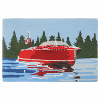 Red Speedboat Accent Rug