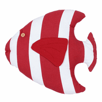 Red & White Island Fish Pillow