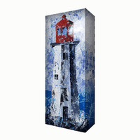 Red & White Lighthouse Aluminum Wall Art