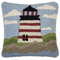 Red & White Lighthouse Hooked Wool Pillow - 18 x 18