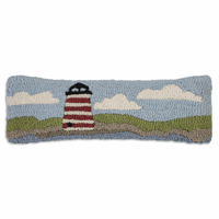 Red & White Lighthouse Hooked Wool Pillow - 8 x 24