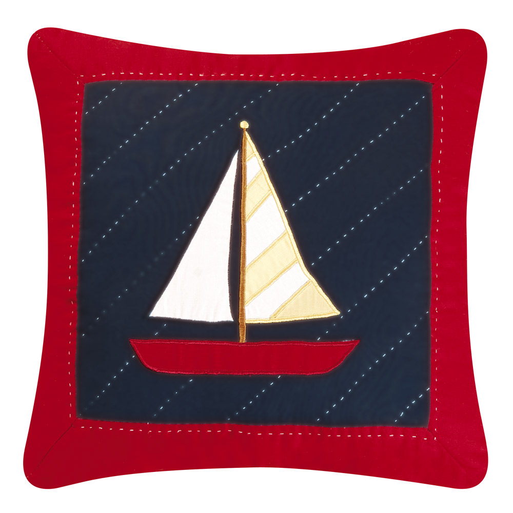 Coastal Decorative Pillows Sail Away Sailboat Quilted Pillow Bella Coastal Decor