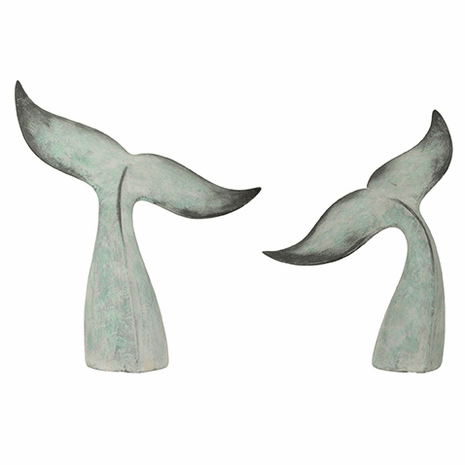 Resin Whale Tail Statues - Set of 2