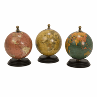 Retro Mini Earths on Mango Wood Bases - Set of 3