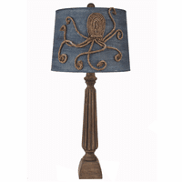 Ribbed Candlestick Table Lamp with Octopus Shade