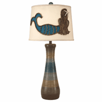 Ribbed Hourglass Table Lamp with Mermaid Shade