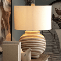 Ribbed Mango Wood Table Lamp