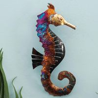 Right-Facing Copper Dripped Seahorse - 16 Inch