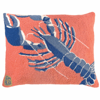 Rock Lobster Hooked Wool Pillow