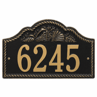 Rope and Shell Arch House Number Plaque - Black & Gold