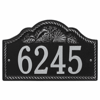 Rope and Shell Arch House Number Plaque - Black & Silver