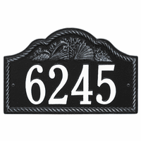 Rope and Shell Arch House Number Plaque - Black & White