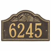 Rope and Shell Arch House Number Plaque - Bronze & Gold