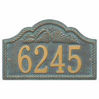 Rope and Shell Arch House Number Plaque - Bronze Verdigris