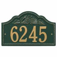 Rope and Shell Arch House Number Plaque - Green & Gold