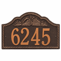 Rope and Shell Arch House Number Plaque - Oil Rub Bronze