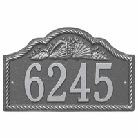 Rope and Shell Arch House Number Plaque - Pewter Silver