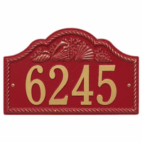 Rope and Shell Arch House Number Plaque - Red & Gold