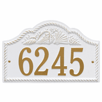Rope and Shell Arch House Number Plaque - White & Gold