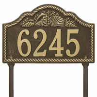 Rope and Shell Lawn Address Plaque - Antique Brass