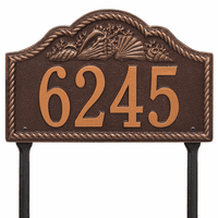 Rope and Shell Lawn Address Plaque - Antique Copper