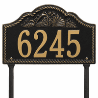 Rope and Shell Lawn Address Plaque - Black & Gold