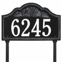 Rope and Shell Lawn Address Plaque - Black & White