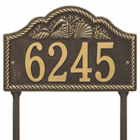Rope and Shell Lawn Address Plaque - Bronze & Gold