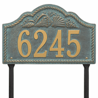 Rope and Shell Lawn Address Plaque - Bronze Verdigris