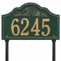 Rope and Shell Lawn Address Plaque - Green & Gold