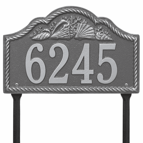 Rope and Shell Lawn Address Plaque - Pewter Silver