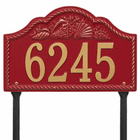 Rope and Shell Lawn Address Plaque - Red & Gold