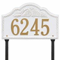 Rope and Shell Lawn Address Plaque - White & Gold