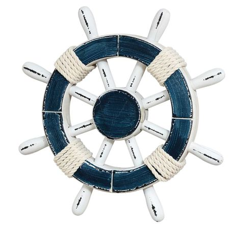 Rope Wrapped Ship Wheel Wall Hanging